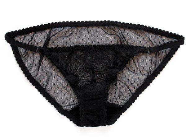 Black sheer panties in low waist mesh and lace