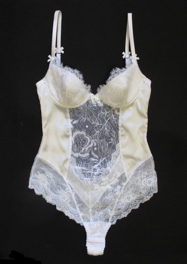 Bridal white sheer bodysuit with plunge built in bra