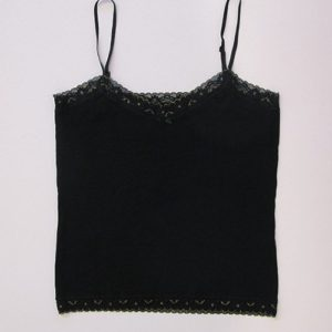 Cotton tank top in black jersey and gold edges