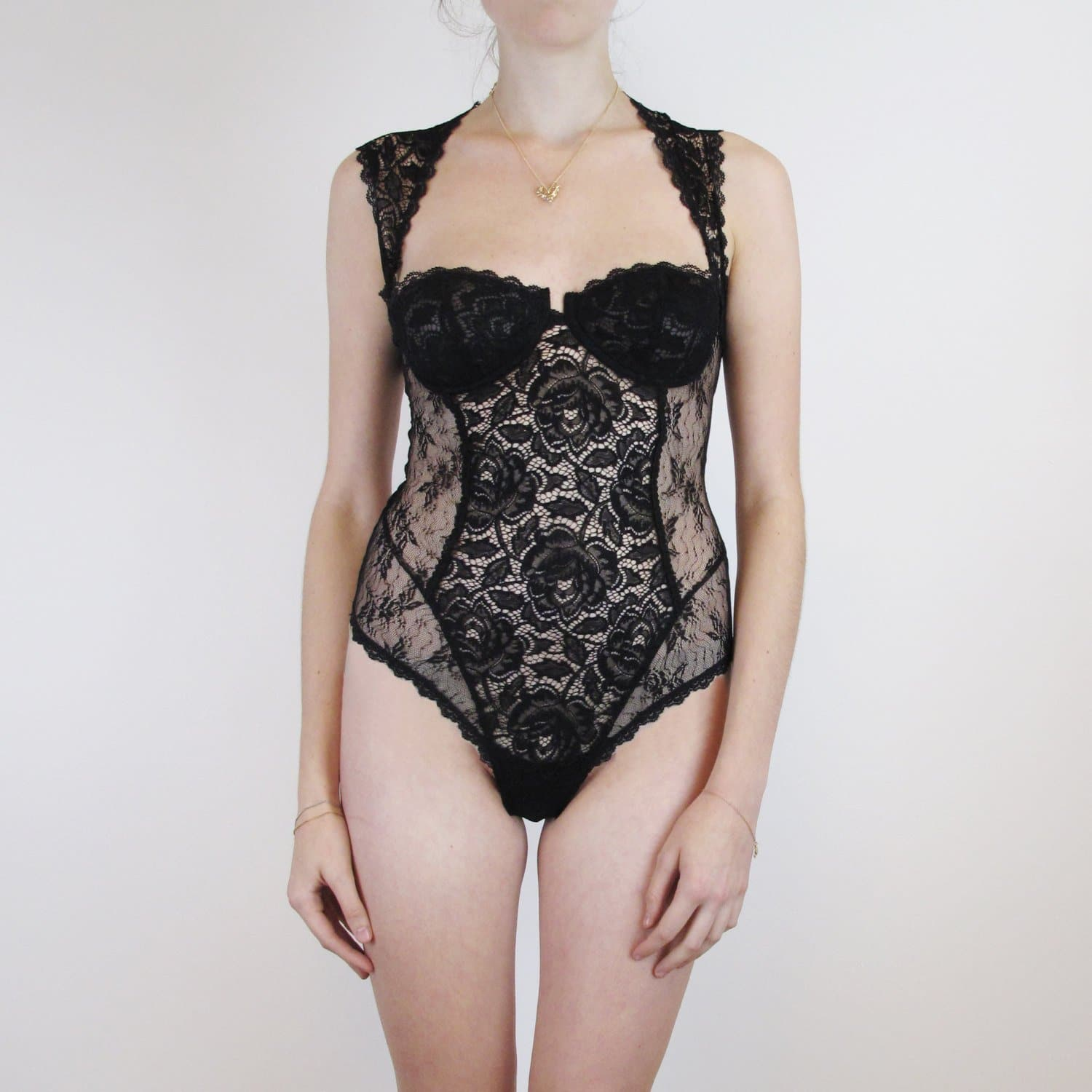 Lace bodysuit with underwired cup