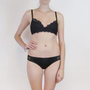 Plunge lace bra and panties in black silk and lace