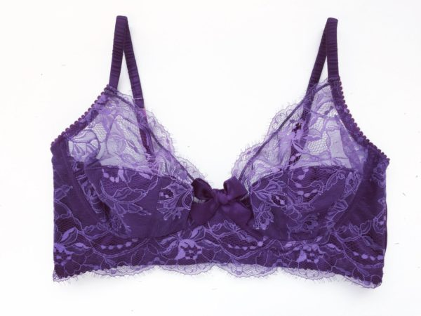 Purple sheer lace plus size bra made in lace and silk