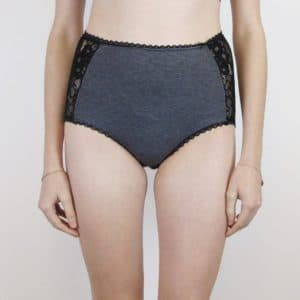 Retro high waist panties in grey jersey and black lace loungewear