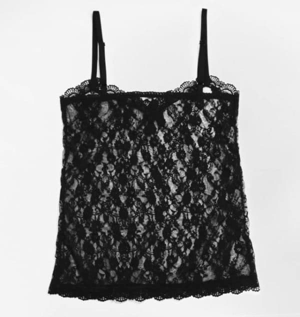 Sheer black lace tank top with thin straps