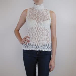 Sheer high neck top sleeveless in off white lace