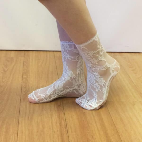 Sheer see through lace socks lingerie style