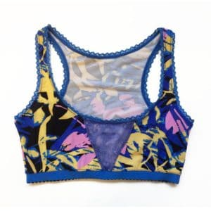Sport bralette in print blue jersey and blue lace