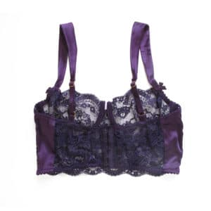 Underwired balconette bra longline in purple lace and spandex silk