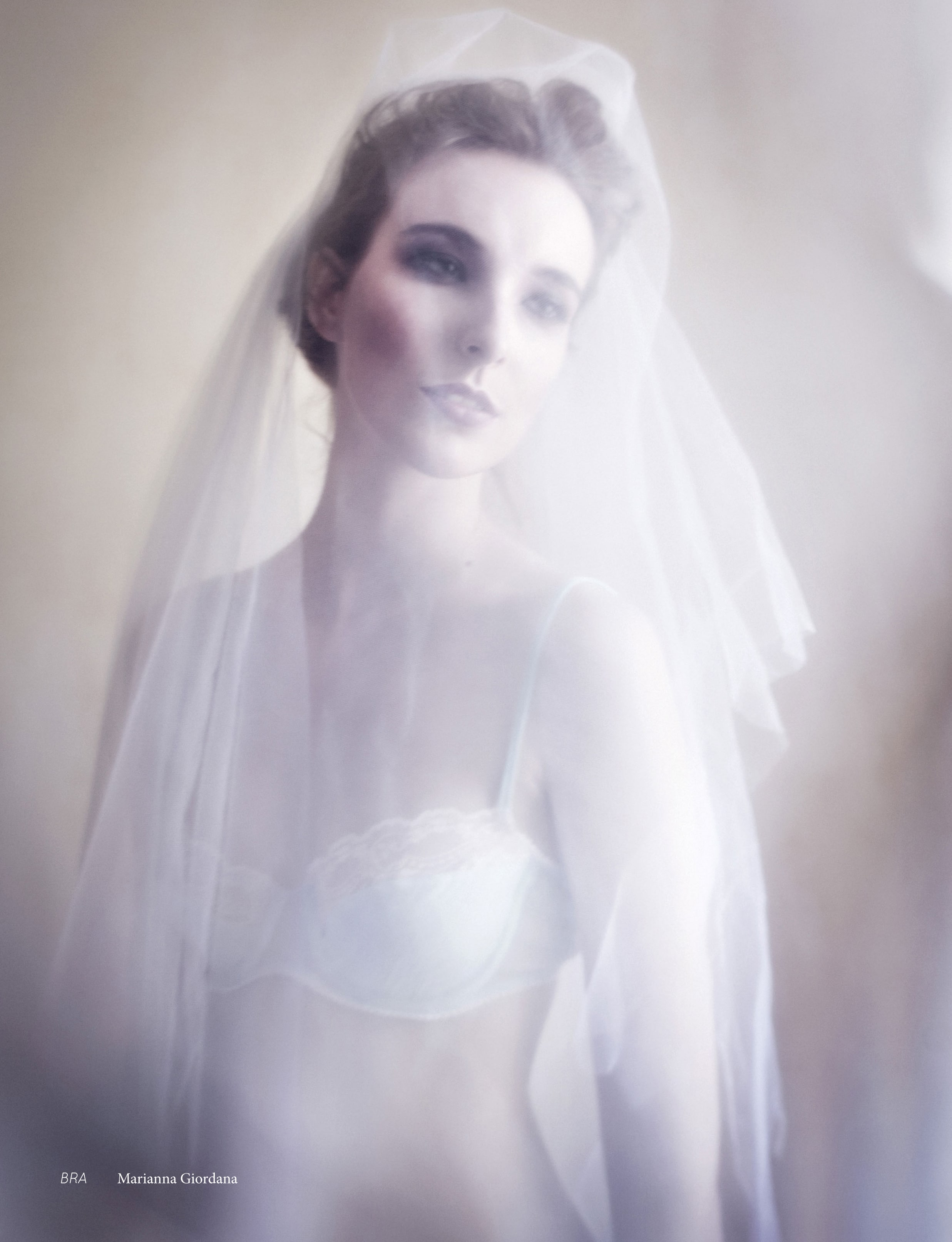 White bridal bra in lace and silk editorial for Bride to be