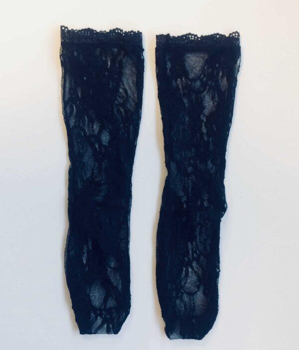 2 black lace socks in floral design