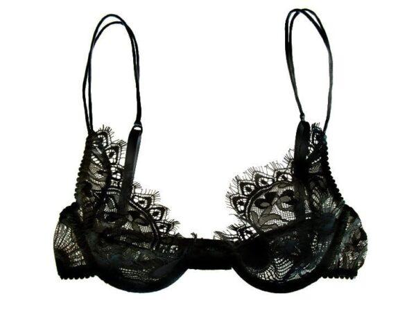 Black lace bra in chantilly lace plunge shape