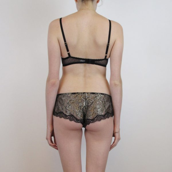gold and black lace sheer lingerie set back
