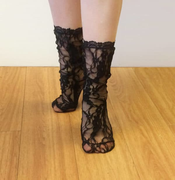 lace sheer black socks with flowers pattern and lace edging
