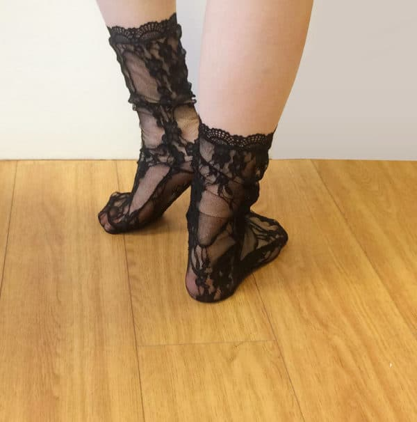 lace sheer black socks with flowers pattern and lace edging back