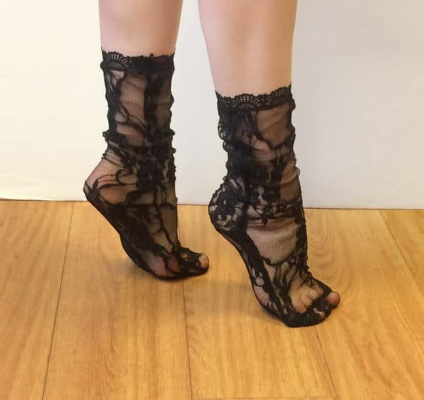 lace sheer black socks with flowers pattern and lace edging side