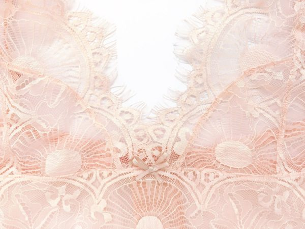 Pink lace see through bralette details of the longline front