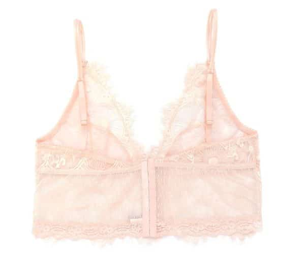 Pink lace see through bralette longline with hook and eye closure
