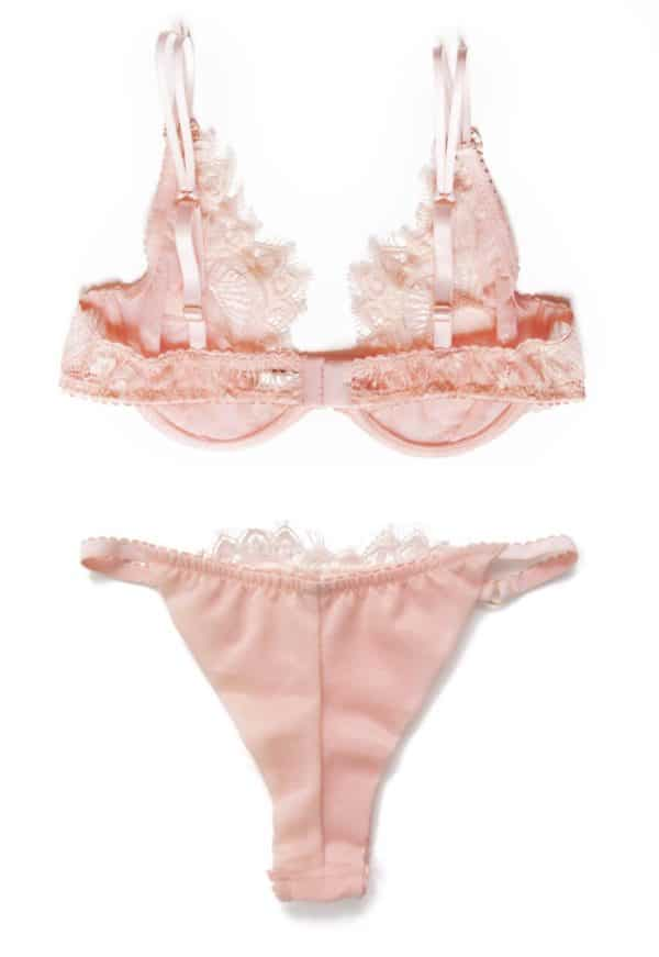 pink see through lingerie in lace bra and tanga panties back