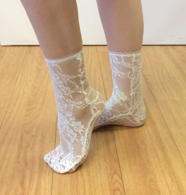 see through white lace socks