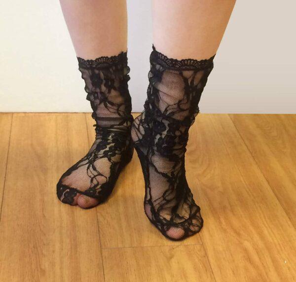 Sheer see through black socks