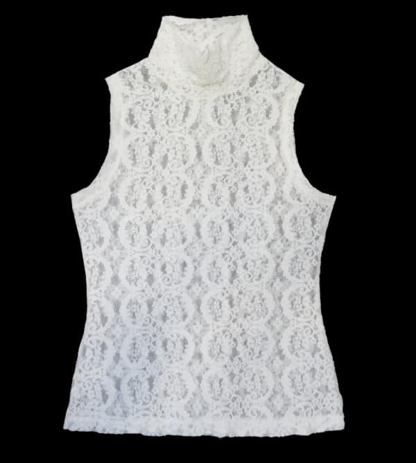 Sheer top in stretch lace sleeveless and high neck