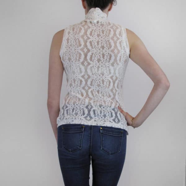 Sheer top in stretch lace sleeveless and high neck back