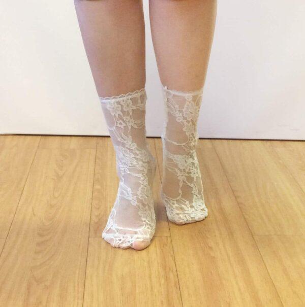 sheer white lace socks