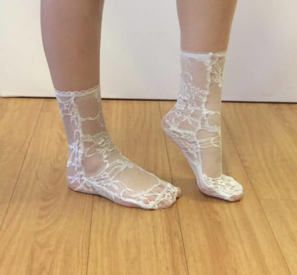 sheer white lace socks side view