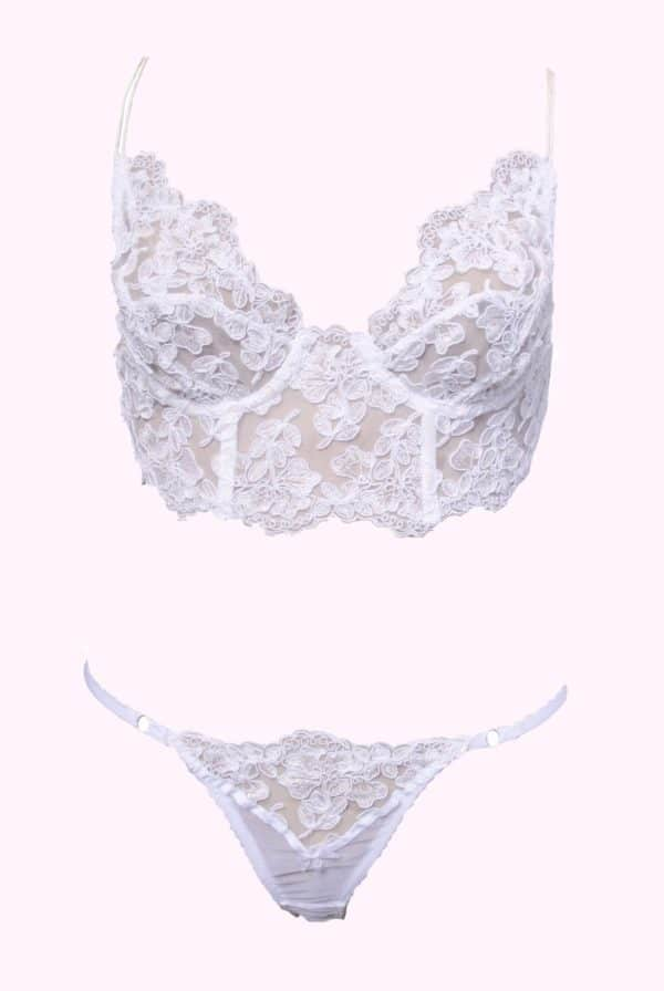Sheer white lingerie set in see through lace