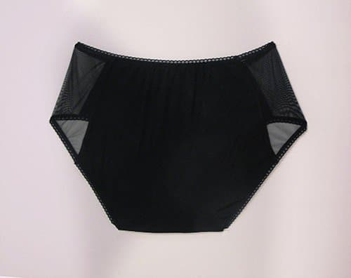 Black cotton panties with sheer mesh back