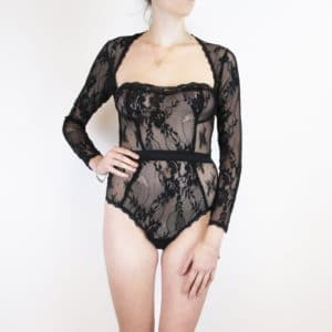 Black lace bodysuit with long sleeves