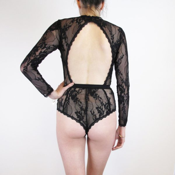Black lace bodysuit with long sleeves back
