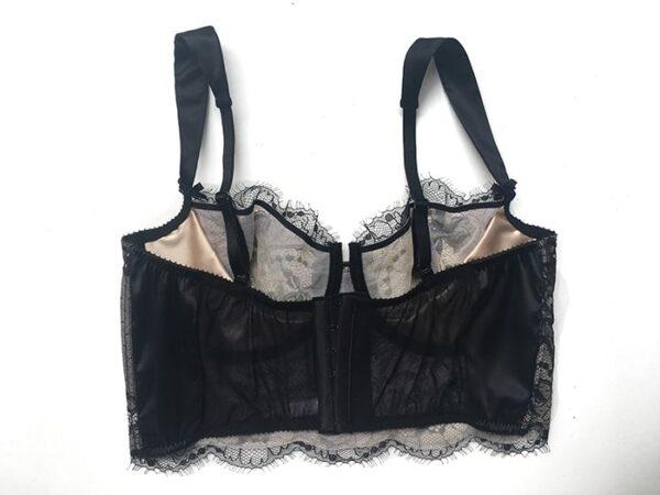 Black lace longline bra back