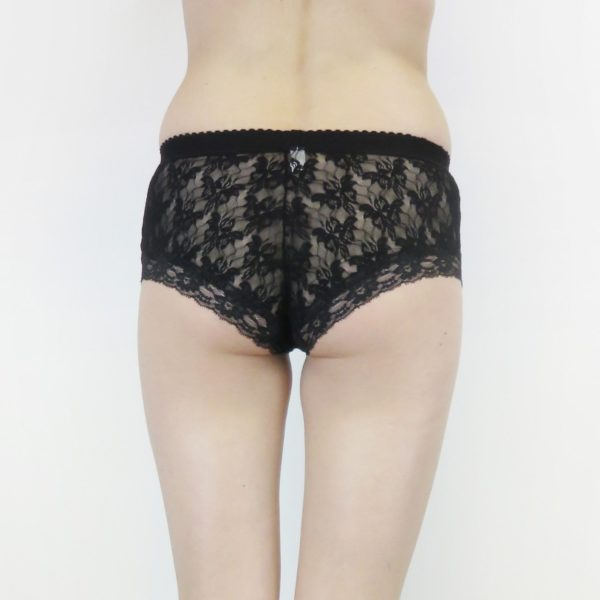 Black see through panties back