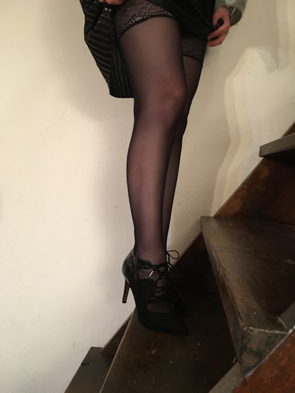 Black sheer couture stockings in mesh and lace