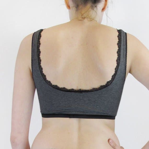 cotton bralette comfortable with black lace edging back