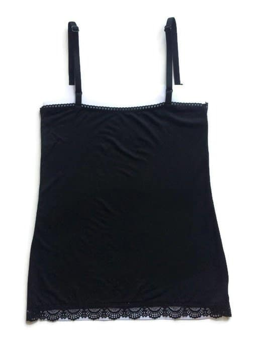 Cotton camisole made in stretch jersey and lace edging back