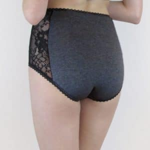 cotton high waist panties in grey cotton and black lace back