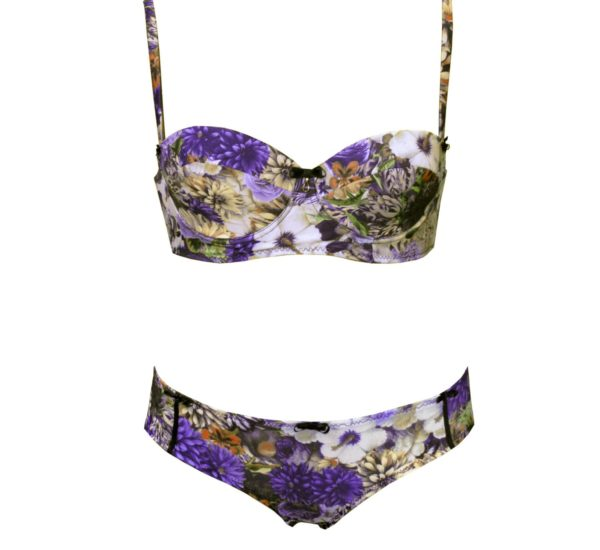 cute lingerie set purple flowers