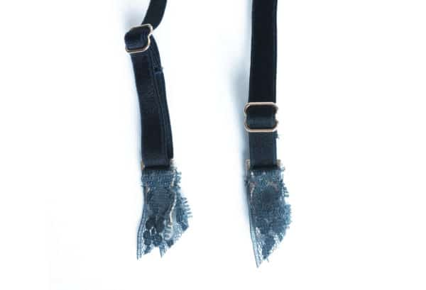 Grey silk and lace garterbelt suspender details