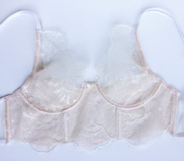 Ivory sheer bra in leavers lace front 2
