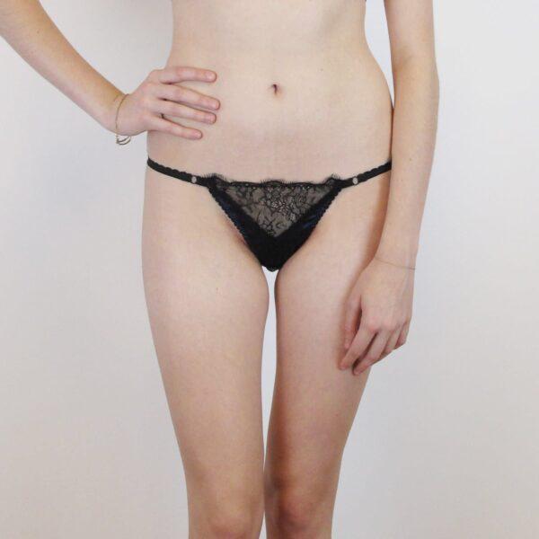 Lace black tanga and navy silk