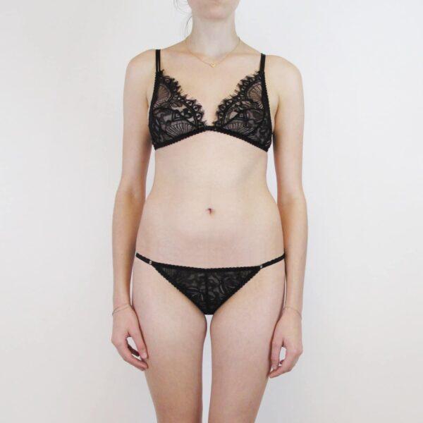 lace sheer bralette and low waist panties