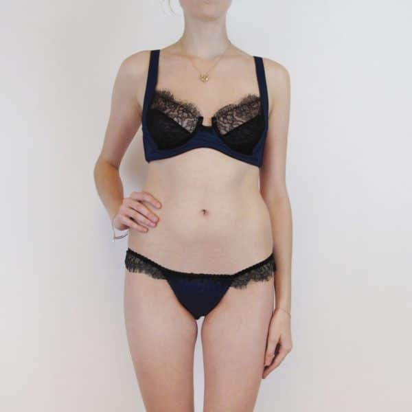 Lingerie set plus size bra and tong in navy silk and lace front