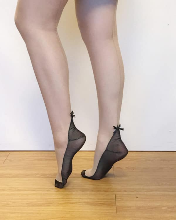 nude sheer stockings with black bow