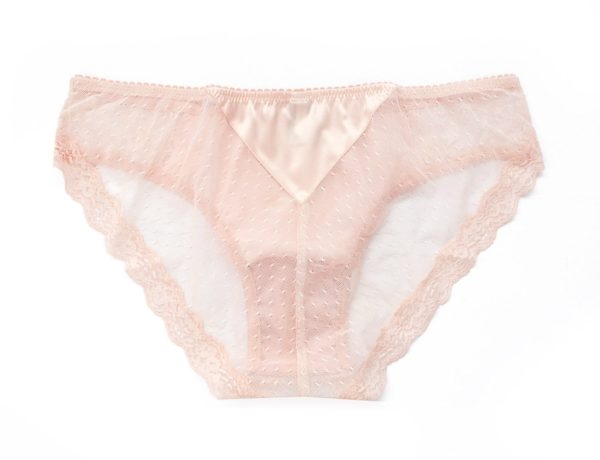 pink see through panties in lace and silk back