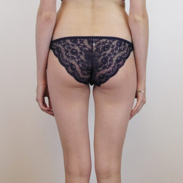 Purple sheer brief in silk and lace back