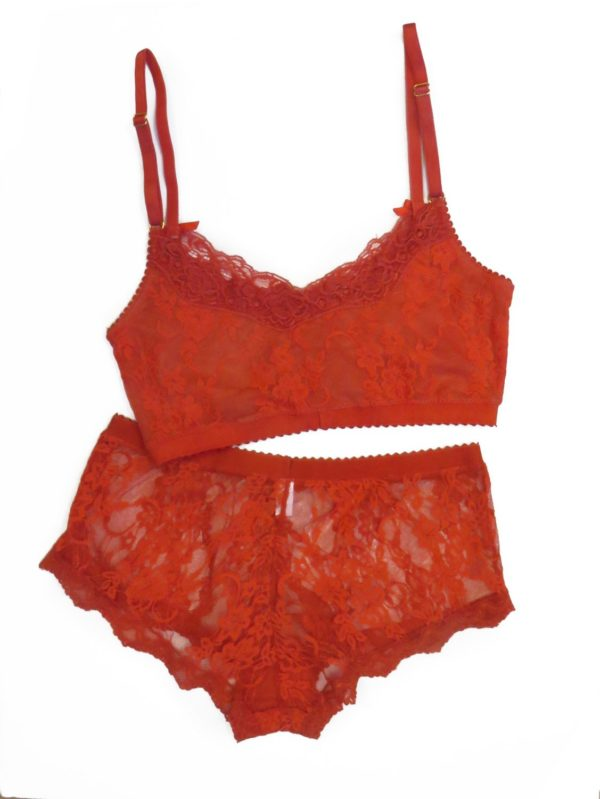 red lace lingerie set bralette and boyshort