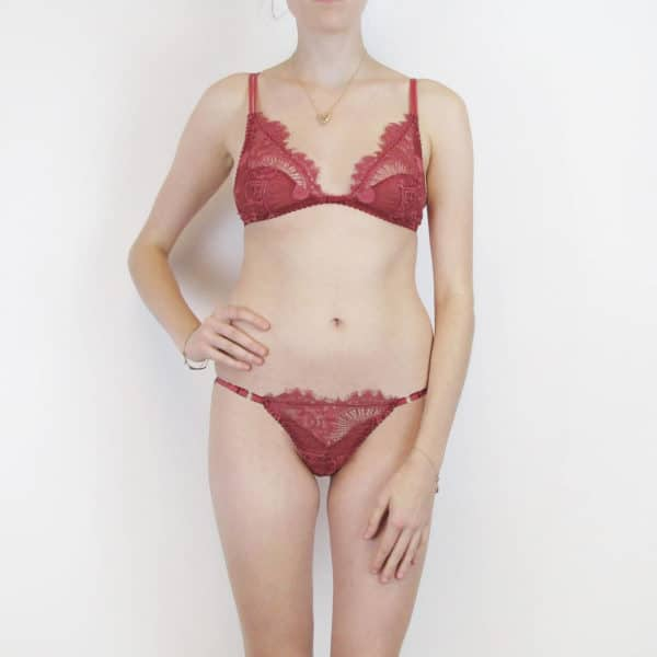 red lace lingerie set bralette and tanga