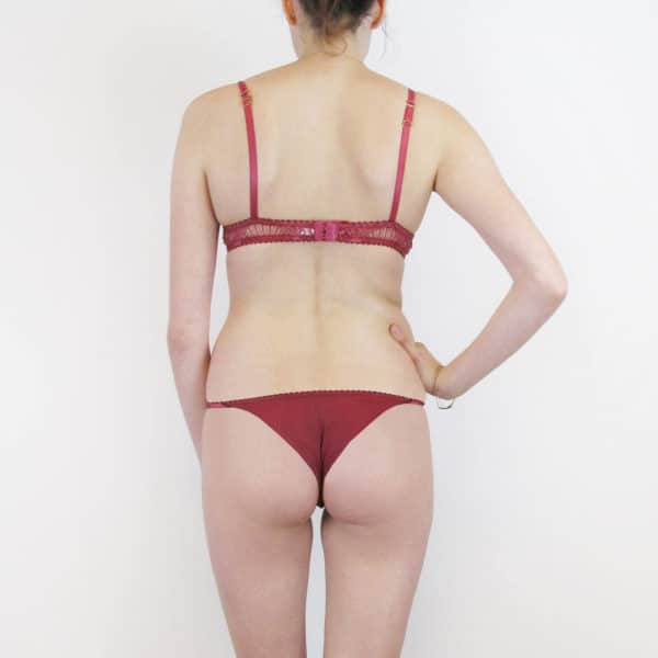 red lace lingerie set made in see through lace back